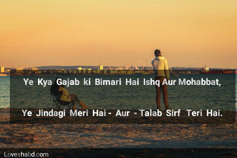 Zindagi shayari written in english text and with photo of sea bank
