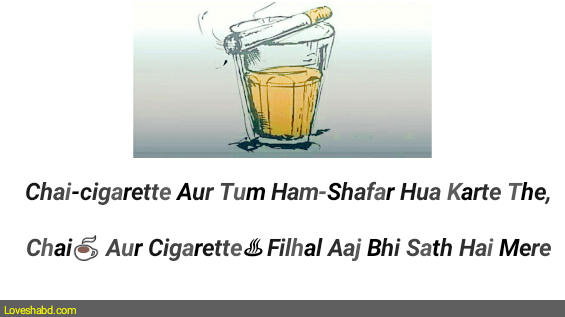 Chai shayari 2 line written on photo of tea and cigarette with white background