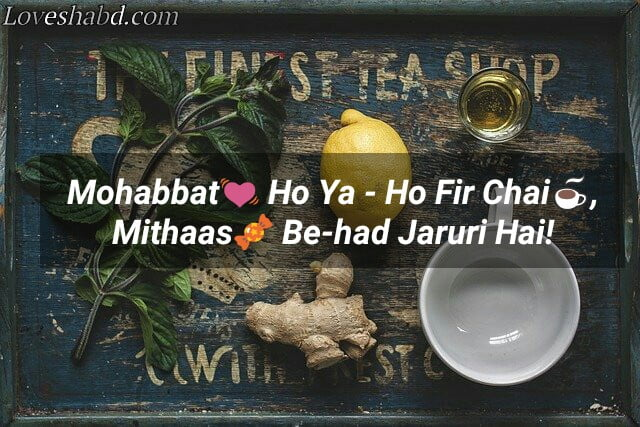 Chai shayari image - tea quotes in hindi text
